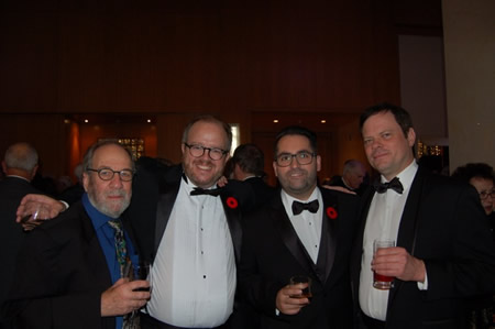 Translator Donald Winkler, Biblioasis publisher Dan Wells, author Samuel Archibald  and Stephen, as editor of the Biblioasis International Translation Series , at the 2015 Giller Prize dinner.