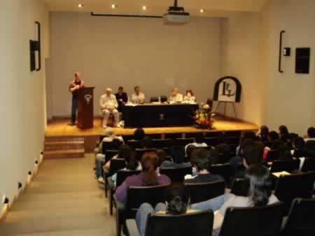 "Reading from the Spanish translation of ""The Tongue Below,"" Linares International Literary Festival, Mexico, 2010."