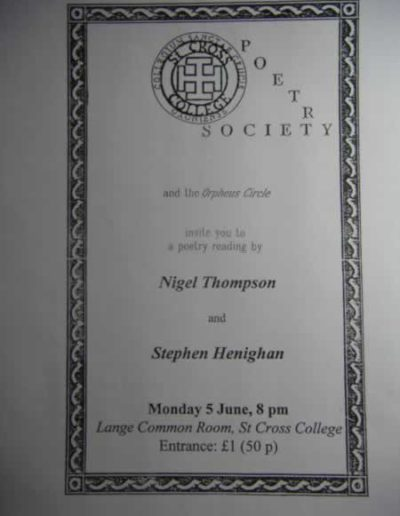 Poster for a reading in Oxford, 1995