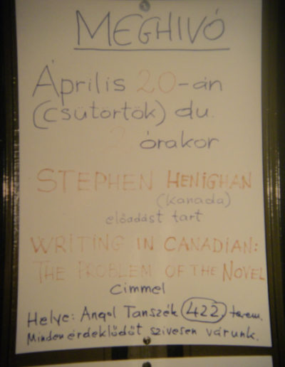 Poster for a talk in Hungary, 1989