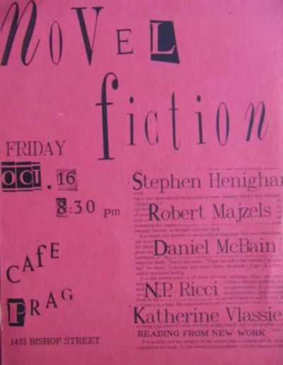 "Poster for a reading by the ""Novel Fiction"" group, Montreal, 1987."