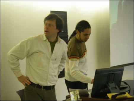 Setting up a presentation with Ondjaki, Brock University, St. Catharines, Ontario, 2008.